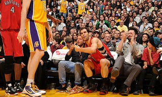Illustration for article titled Playboy Fiat Heir Interferes With NBA Game, Helps Lakers Win