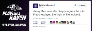 Illustration for article titled The Ravens Just Deleted That Terrible Janay Rice Tweet