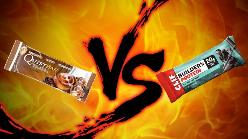 Illustration for article titled Power Protein Bar Showdown: Quest Bar vs. Clif Builder's Bar