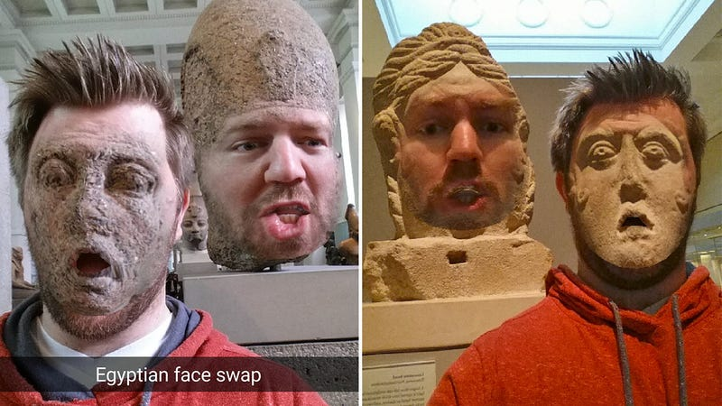 Illustration for article titled Face Swapping With Ancient Statues Makes Museums Fun Again