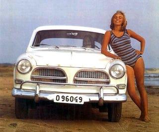 North Sea Beach Babes Dig The Volvo Amazon!