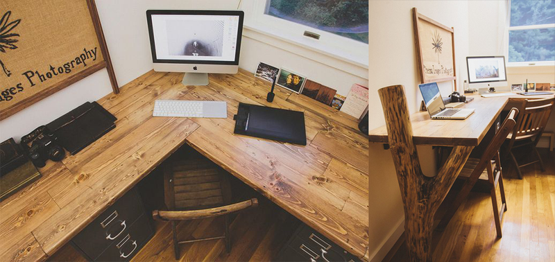 A large L-shaped desk, propped up by what looks to be a massive tree  branch. It's a perfectly natural, rustic-looking workspace for two. - The Rustic Reclaimed Wood Workspace