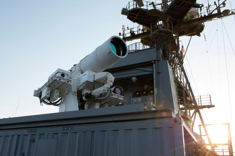 The LaWS laser weapon aboard USS Ponce, Arabian Gulf, 2014.