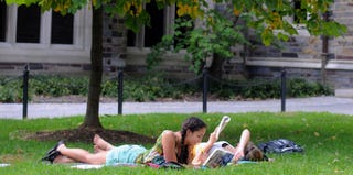 Claudia Kelley (left) and Cameron Lang at Princeton University on Oct. 10, 2011 (William Thomas Cain/Getty Images)