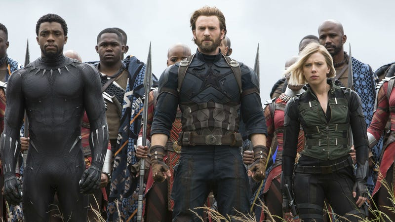 Captain America (Chris Evans) and Black Widow (Scarlett Johansson) retreat to Wakanda with Black Panther (Chadwick Boseman) in Avengers: Infinity War.