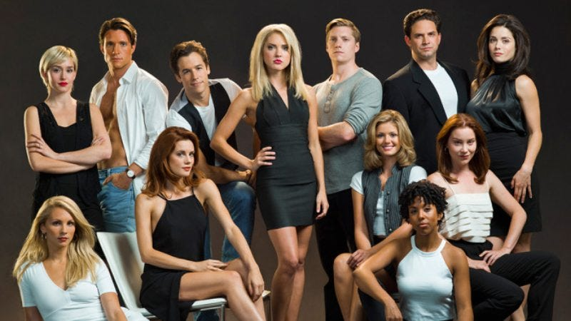 Simulated Heather Locklear, Courtney Thorne-Smith, and others from The Unauthorized Melrose Place