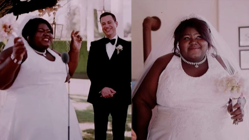 Illustration for article titled Gabourey Sidibe Pranks With the Best of Pranks, Gets Jimmy Kimmel at His Own Wedding