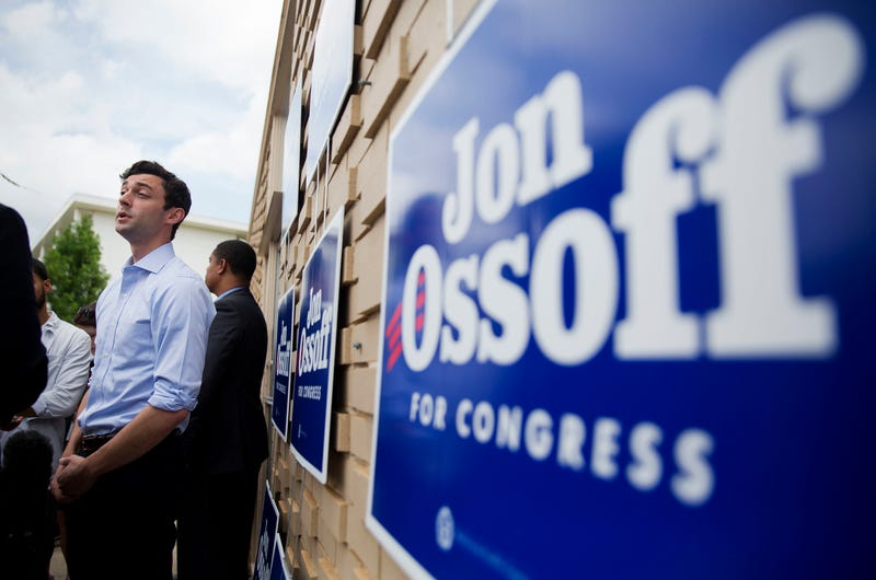 Jon Ossoff, Democratic candidate to represent Georgia's 6th Congressional District, talks to reporters during a stop at a campaign office in Chamblee, Ga., on June 19, 2017. (David Goldman/AP Images)