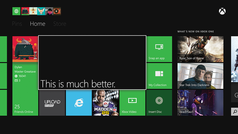 Illustration for article titled The Xbox One Dashboard Is Definitely a Next-Gen Improvement