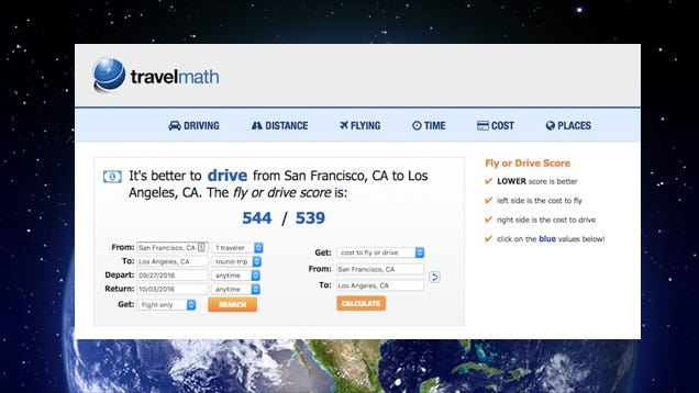 Travelmath Helps You Calculate The True Costs Of Driving Vs Flying