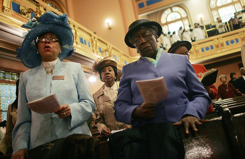 Parishioners sing during Easter service in Harlem at Mount Olivet Baptist Church on April 8, 2007, in New York City. (Mario Tama/Getty Images)