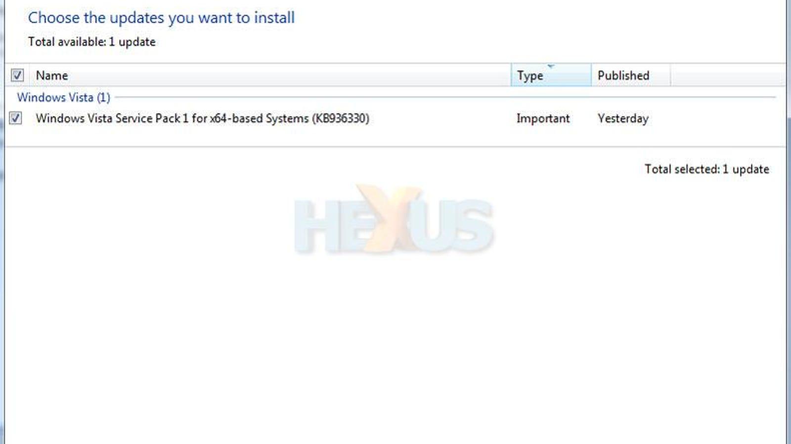 update windows vista to service pack 1