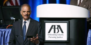 Attorney General Eric Holder at the American Bar Association's annual meeting (Justin Sullivan/Getty Images)