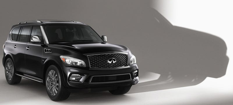 Illustration for article titled 2015 Infiniti QX80 Gets A Facelift, Still Looks Like A Cyborg Bull