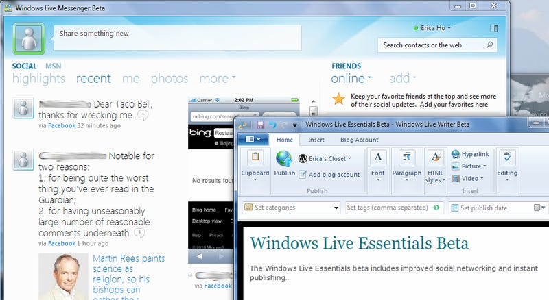 Illustration for article titled First Look at Windows Live Essentials Beta's New Social Features