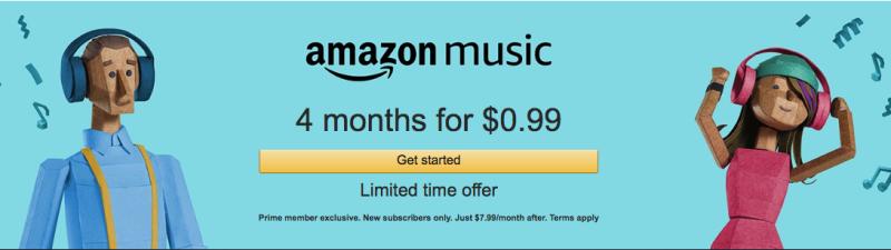 Cuatro meses de Amazon Music | $1 | Amazon | Solo para miembros Prime