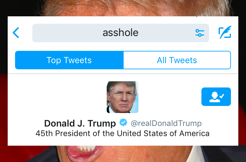 Illustration for article titled When You Search 'Asshole' on Twitter, President Trump's Profile Is the First Result [Updated]