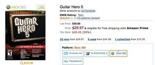 Illustration for article titled Guitar Hero 5 No Longer Half Off at Amazon [Update]