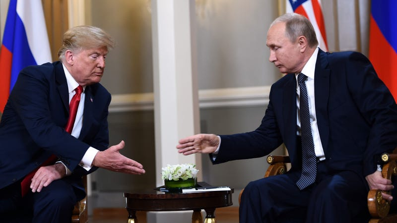 Illustration for article titled Clear Collusion: Upon Meeting, Trump And Putin Immediately Launched Into A 5-Minute Handshake And Chant That Made It Pretty Obvious They Went To The Same Fat Camp Last Year