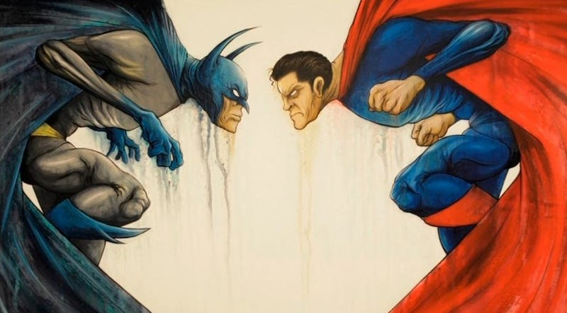 Illustration for article titled Zack Snyder commissioned these Batman vs. Superman paintings