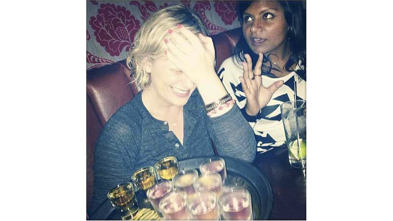 Illustration for article titled Mindy Kaling and Amy Poehler Are About to Do Shots Together