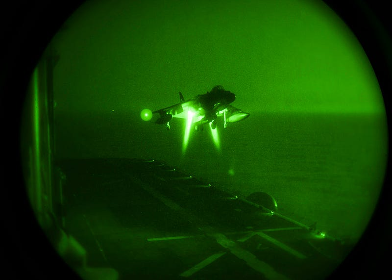 Illustration for article titled Night vision makes a harrier look like a landing alien probe.