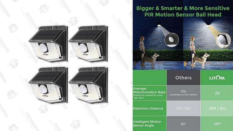 LITOM Waterproof Outdoor Solar Motion Sensor Lights | $16 | Amazon | Promo code VPZOWS6G