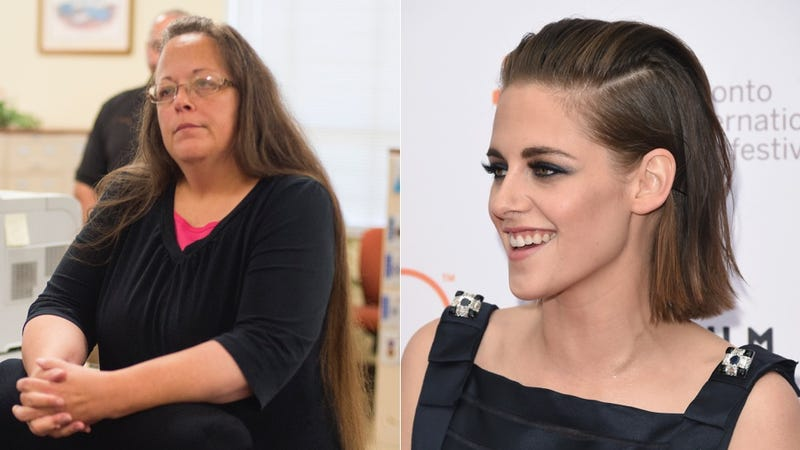 Illustration for article titled Kristen Stewart on Homophobic Folk Hero Kim Davis: 'I Feel Really Bad for Her'
