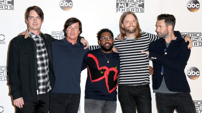 (L-R) Musicians Mickey Madden, Matt Flynn, PJ Morton, James Valentine and Adam Levine of Maroon 5 pose in the press room during the 2016 American Music Awards