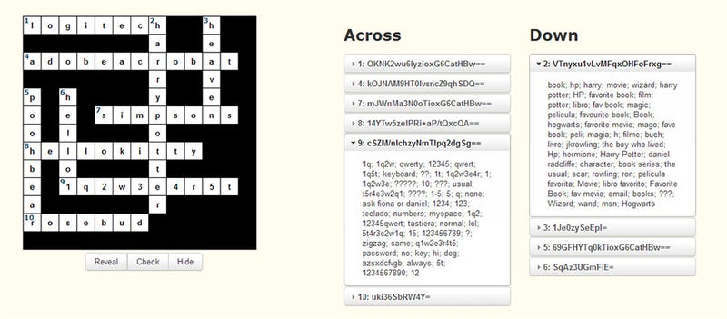 Illustration for article titled Your Adobe Passwords Make For An Incredibly Easy Crossword Puzzle