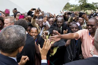 President Barack Obama greets embassy staff and their families at the U.S. Embassy in Nairobi, Kenya, July 25, 2015.Official White House Photo by Pete Souza