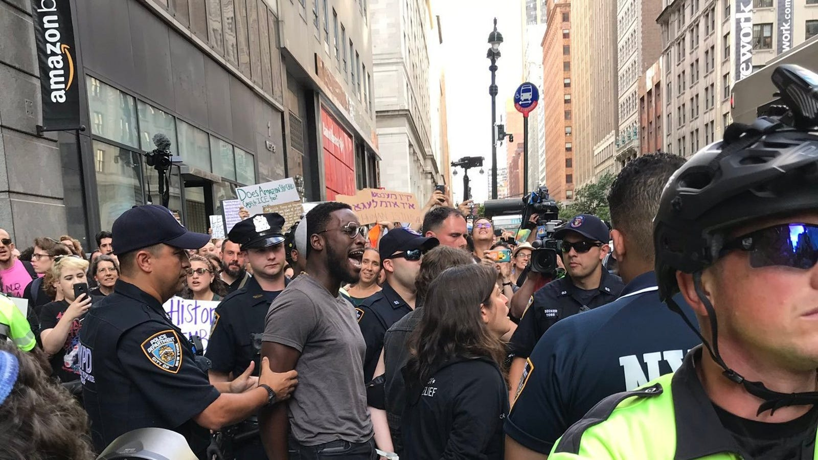 Dozens Arrested at #JewsAgainstICE Protest at Amazon Store in NYC