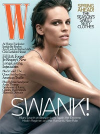Illustration for article titled 'W' Cover Model Hilary Swank Rings In New Year By Popping Pills