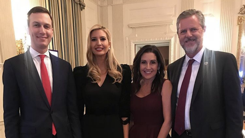 Illustration for article titled Ivanka Trump Goes for Bold Red Lip While Posing With Anti-LGBTQ Bigot Who Wants Guns on College Campuses