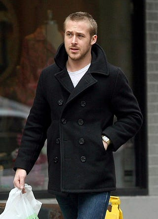 Illustration for article titled Ryan Gosling, Just Walking, In A Pea Coat: Hot