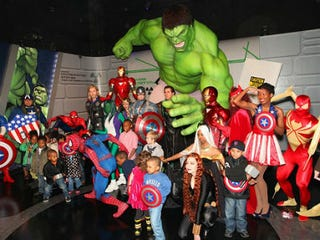 Cosplay partygoers at N.Y.'s Madame Tussauds Wax Museum (Madame Tussauds New York)