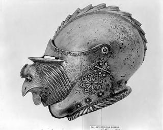 Illustration for article titled Renaissance-era knight's helmet has a rooster's head on its visor