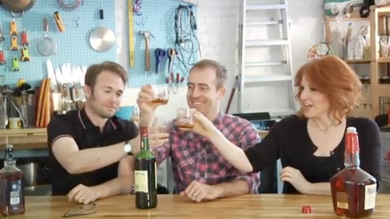 Illustration for article titled Watch Ted Leo, Julie Klausner, and HWYW producer Chris Spooner get drunk and whittle things