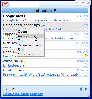 Gmail Google Desktop Gadget Now Available