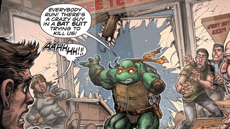 Illustration for article titled The Batman/Teenage Mutant Ninja TurtlesCrossover Has Had Its Mandatory Hero Fight, and It Is Fantastic