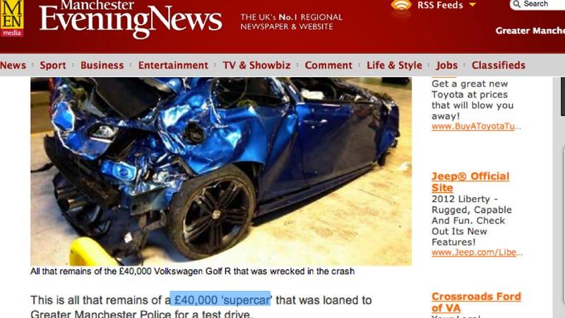 Illustration for article titled British Cops Borrow VW Golf R, Destroy It
