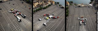Illustration for article titled Life-Sized Autobot Assembles in French Parking Lot, Doesn't Really Roll Out