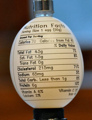 Illustration for article titled Every Egg Should Have Nutritional Facts Printed On Its Shell