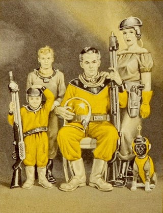 Illustration for article titled Vintage Cover Art Suggests Future Laden With Guns, Space Suits For Dogs