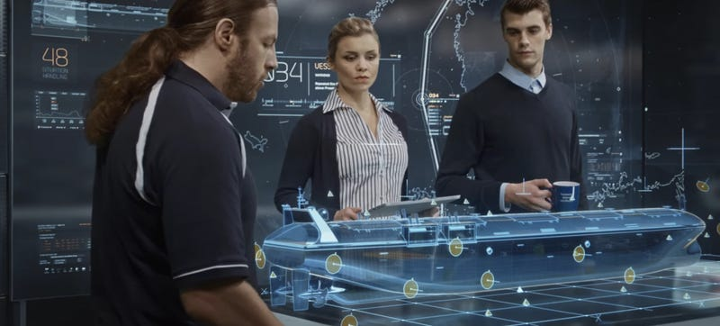 Screenshot of a Rolls-Royce publicity film showing their projected remote-crew ship of the future. You can also imagine these people as well-dressed pirates. Via Rolls-Royce.