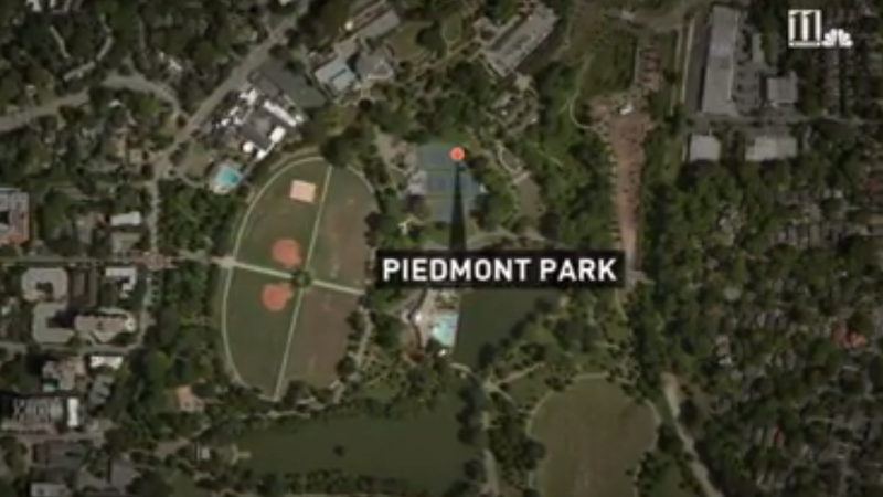 Approximate location where the body of a black man was found hanging from a tree in Piedmont Park in Atlanta 11 Alive