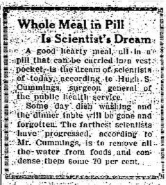 Illustration for article titled Whole Meal in Pill (1923)