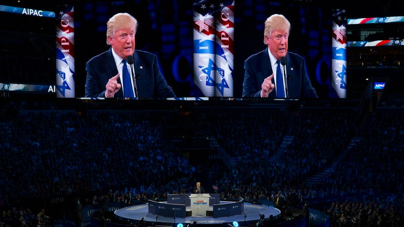 Then-Republican candidate Donald Trump speaks at the 2016 AIPAC Policy Conference in March. Image via Evan Vucci/AP Photo.
