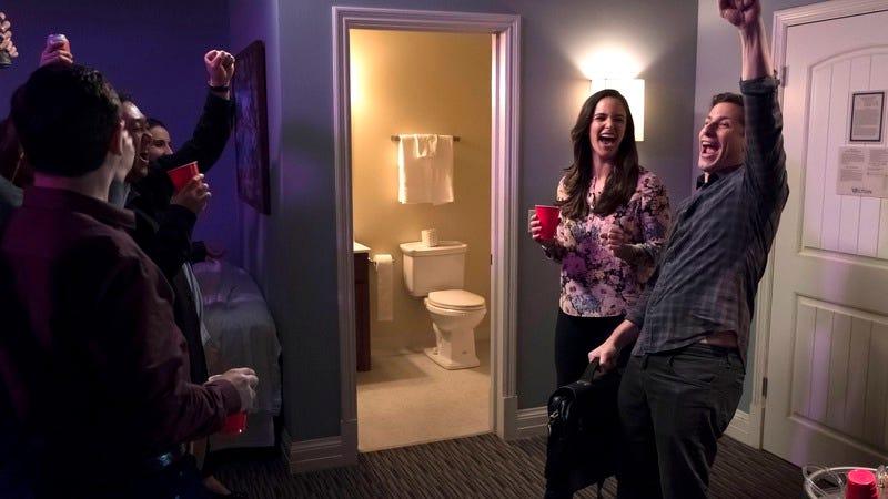 Melissa Fumero (left) and Andy Samberg (Photo: Fox)