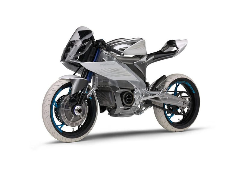 Illustration for article titled This Yamaha Electric Motorcycle Concept Is Two Wheel Drive